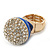 Statement Pave-Set Crystal, Blue Enamel 'Ball' Flex Ring In Gold Plating - 25mm Across - Size 7/8 - view 8