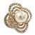 Large Prom, Four Petal Crystal, Simulated Pearl 'Flower' Stretch Ring In Gold Plating - 40mm Across - Size 6/7 - view 6