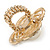 Large Prom, Four Petal Crystal, Simulated Pearl 'Flower' Stretch Ring In Gold Plating - 40mm Across - Size 6/7 - view 5