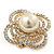 Large Prom, Four Petal Crystal, Simulated Pearl 'Flower' Stretch Ring In Gold Plating - 40mm Across - Size 6/7 - view 7