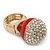 Statement Pave-Set Crystal, Red Enamel 'Ball' Flex Ring In Gold Plating - 25mm Across - Size 7/8 - view 2