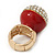 Statement Pave-Set Crystal, Red Enamel 'Ball' Flex Ring In Gold Plating - 25mm Across - Size 7/8 - view 3