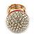 Statement Pave-Set Crystal, Red Enamel 'Ball' Flex Ring In Gold Plating - 25mm Across - Size 7/8 - view 5
