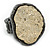 Two Tone Off-Round, Textured Flex Ring (Gunmetal/ Gold Tone) - 37mm Across - Size 7/8