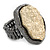 Two Tone Off-Round, Textured Flex Ring (Gunmetal/ Gold Tone) - 37mm Across - Size 7/8 - view 3