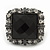 Faceted Black Glass Square Stone and Diamante Gun Metal Stretch Ring - 25mm Length - Expandable Size 7/8 - view 4