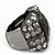 Faceted Black Glass Square Stone and Diamante Gun Metal Stretch Ring - 25mm Length - Expandable Size 7/8 - view 5
