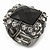 Faceted Black Glass Square Stone and Diamante Gun Metal Stretch Ring - 25mm Length - Expandable Size 7/8 - view 3