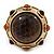 Chunky Dome Shape 'Snake Print' Resin Stone Flex Ring In Burn Gold Finish - 35mm Diameter - Size 8/10 - view 3