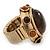 Chunky Dome Shape 'Snake Print' Resin Stone Flex Ring In Burn Gold Finish - 35mm Diameter - Size 8/10 - view 5