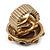 Chunky Dome Shape 'Snake Print' Resin Stone Flex Ring In Burn Gold Finish - 35mm Diameter - Size 8/10 - view 4