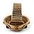 Chunky Dome Shape 'Snake Print' Resin Stone Flex Ring In Burn Gold Finish - 35mm Diameter - Size 8/10 - view 7