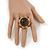 Chunky Dome Shape 'Snake Print' Resin Stone Flex Ring In Burn Gold Finish - 35mm Diameter - Size 8/10 - view 6
