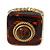 Square Resin 'Animal Print' Flex Ring In Burn Gold Metal - 25mm Across - Size 7/9 - view 4