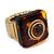 Square Resin 'Animal Print' Flex Ring In Burn Gold Metal - 25mm Across - Size 7/9 - view 7