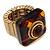 Square Resin 'Animal Print' Flex Ring In Burn Gold Metal - 25mm Across - Size 7/9