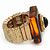 Square Resin 'Animal Print' Flex Ring In Burn Gold Metal - 25mm Across - Size 7/9 - view 5