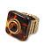 Square Resin 'Animal Print' Flex Ring In Burn Gold Metal - 25mm Across - Size 7/9 - view 6
