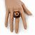 Square Resin 'Animal Print' Flex Ring In Burn Gold Metal - 25mm Across - Size 7/9 - view 2