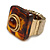 Square Resin 'Animal Print' Flex Ring In Burn Gold Metal - 25mm Across - Size 7/9 - view 9