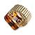 Square Resin 'Animal Print' Flex Ring In Burn Gold Metal - 25mm Across - Size 7/9 - view 11