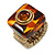 Square Resin 'Animal Print' Flex Ring In Burn Gold Metal - 25mm Across - Size 7/9 - view 12