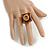 Square Resin 'Animal Print' Flex Ring In Burn Gold Metal - 25mm Across - Size 7/9 - view 13
