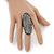 Large Pave Set Clear Swarovski Crystal 'Shield' Flex Ring In Black Tone - 6cm Length - Size 8/9 - view 3