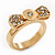 Gold Plated 'Cutie' Bow Ring with Clear Crystals - 2cm Length - Size 7