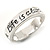 Silver Plated 'Life is always better with a smile' Engraved Ring - Size 8