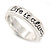 Silver Plated 'Life is always better with a smile' Engraved Ring - Size 8 - view 4