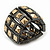 Two Tone 'Spiky' Wide Flex Band Ring (Gold/ Black Tone Metal) - 20mm Width - Size 7/8 - view 3