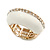 White Enamel Dome Shaped Stretch Cocktail Ring In Gold Plating - 2cm Length - Size 7/8