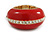 Red Enamel Dome Shaped Stretch Cocktail Ring In Gold Plating - 2cm Length - Size 7/8 - view 12