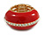 Red Enamel Dome Shaped Stretch Cocktail Ring In Gold Plating - 2cm Length - Size 7/8 - view 5