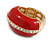 Red Enamel Dome Shaped Stretch Cocktail Ring In Gold Plating - 2cm Length - Size 7/8 - view 3