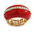 Red Enamel Dome Shaped Stretch Cocktail Ring In Gold Plating - 2cm Length - Size 7/8 - view 13