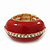 Red Enamel Dome Shaped Stretch Cocktail Ring In Gold Plating - 2cm Length - Size 7/8 - view 8