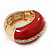 Red Enamel Dome Shaped Stretch Cocktail Ring In Gold Plating - 2cm Length - Size 7/8 - view 9