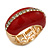 Red Enamel Dome Shaped Stretch Cocktail Ring In Gold Plating - 2cm Length - Size 7/8 - view 4