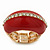 Red Enamel Dome Shaped Stretch Cocktail Ring In Gold Plating - 2cm Length - Size 7/8 - view 10
