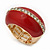 Red Enamel Dome Shaped Stretch Cocktail Ring In Gold Plating - 2cm Length - Size 7/8 - view 11
