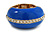 Blue Enamel Dome Shaped Stretch Cocktail Ring In Gold Plating - 2cm Length - Size 7/8 - view 2