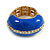 Blue Enamel Dome Shaped Stretch Cocktail Ring In Gold Plating - 2cm Length - Size 7/8 - view 12