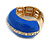 Blue Enamel Dome Shaped Stretch Cocktail Ring In Gold Plating - 2cm Length - Size 7/8 - view 13