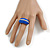 Blue Enamel Dome Shaped Stretch Cocktail Ring In Gold Plating - 2cm Length - Size 7/8 - view 3