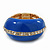 Blue Enamel Dome Shaped Stretch Cocktail Ring In Gold Plating - 2cm Length - Size 7/8 - view 10
