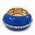 Blue Enamel Dome Shaped Stretch Cocktail Ring In Gold Plating - 2cm Length - Size 7/8 - view 8