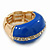 Blue Enamel Dome Shaped Stretch Cocktail Ring In Gold Plating - 2cm Length - Size 7/8 - view 7