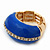 Blue Enamel Dome Shaped Stretch Cocktail Ring In Gold Plating - 2cm Length - Size 7/8 - view 11